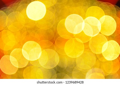Festive Background With Natural Bokeh And Bright Golden Lights