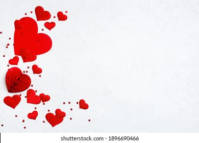 Festive background with various hearts on white, copy space