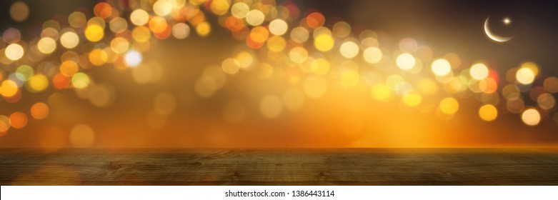 festive background with wooden table, crescent and star