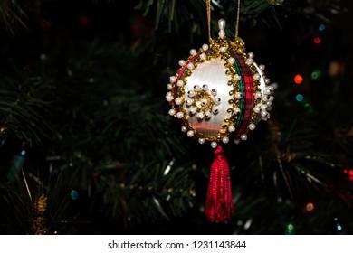 Festive Beaded Christmas Ornament on a Christmas Tree