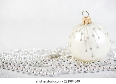 Festive Beautiful Christmas decoration on abstract glitter background