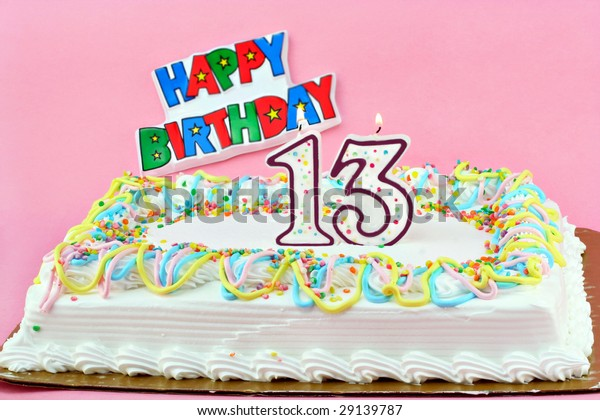 Miraculous Festive Birthday Sheet Cake Number 13 Stock Photo Edit Now 29139787 Personalised Birthday Cards Veneteletsinfo