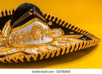 A festive black mexican, felt mariachi sombrero