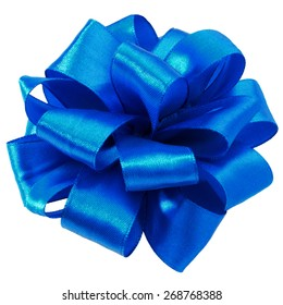 Festive blue gift bow isolated on white background cutout