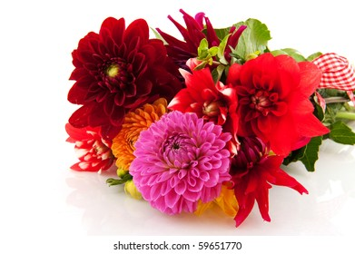 Festive bouquet Dahlias with ribbon isolated over white