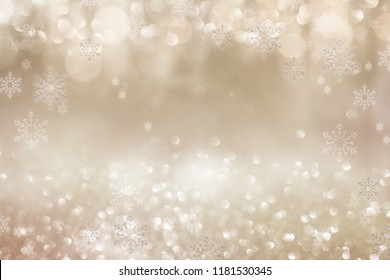 Festive bright golden bokeh background with christmas stars for a decoration