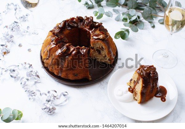 Festive bundt cake with dates and salted caramel. Sticky toffee pudding style