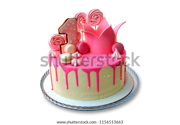 Excellent Festive Cake Decorated Pink Frosting On Stock Photo Edit Now Funny Birthday Cards Online Inifodamsfinfo