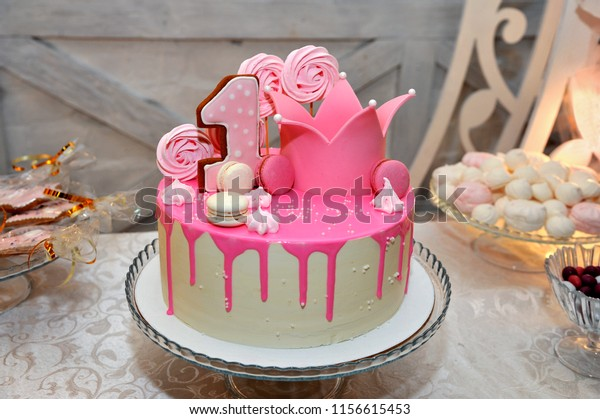 Groovy Festive Cake Decorated Pink Frosting First Stock Photo Edit Now Funny Birthday Cards Online Inifofree Goldxyz