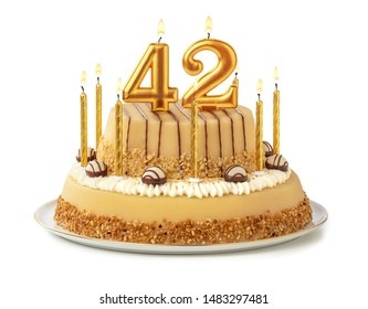 Festive cake with golden candles - Number 42