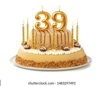 Festive cake with golden candles - Number 39