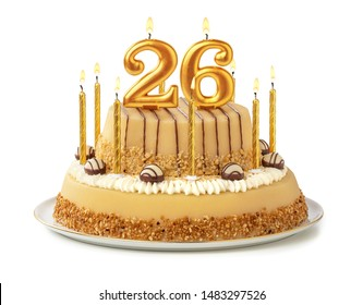 Festive cake with golden candles - Number 26