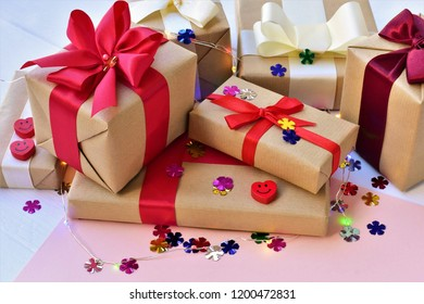Festive card, Gift boxes tied with ribbons and colorful confetti.