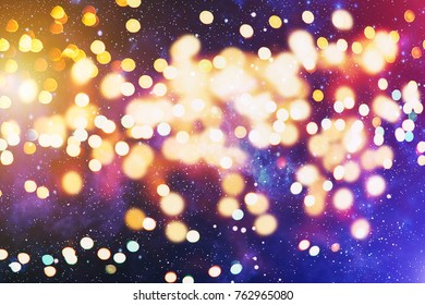 Festive Christmas background. Elegant abstract background with lights and stars .
