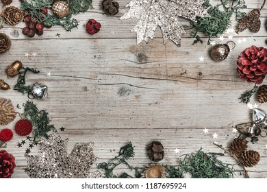 Festive Christmas Composition on a wooden background