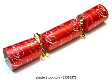 Festive christmas cracker over a white background