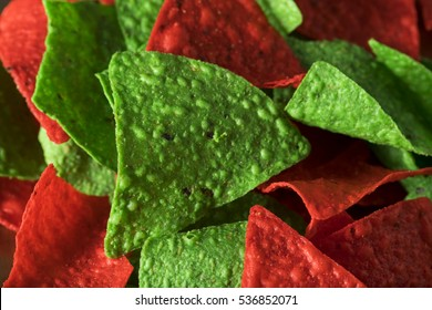 Festive Christmas Green and Red Tortilla Chips with Salsa