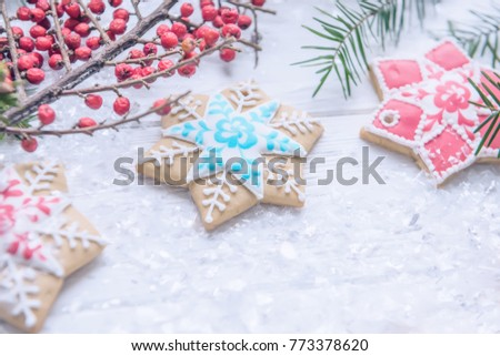 festive christmas new years screensaver postcard background homemade bright gingerbreads branches
