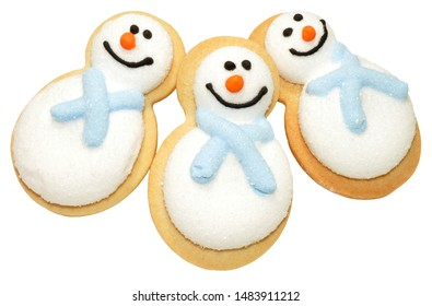 Festive Christmas novelty snowman cookies isolated on a white background