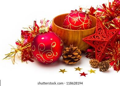 Festive Christmas still life on white background
