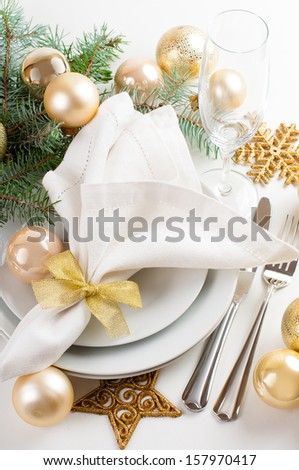 Festive Christmas Table Setting Table Decorations Stock Photo Edit