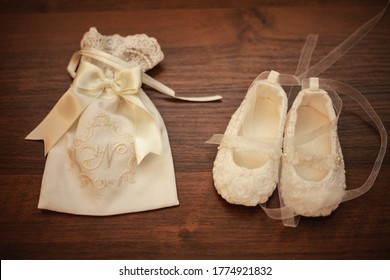 Festive clothing girls for baptism. White clothes, women's shoes