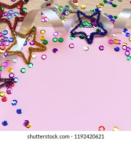 Festive colorful background with space for text, square image.