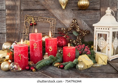 Festive colorful christmas decorations on a wooden background