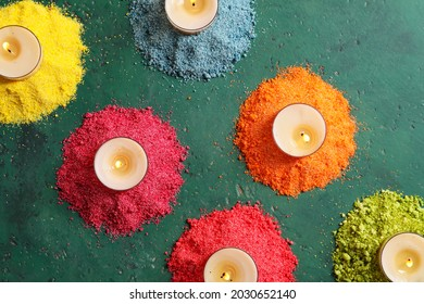 Festive composition with burning candles for celebration of Divaly on color background