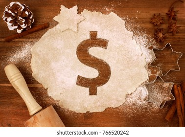 Festive cookie dough with the shape of a Dollar symbol cut out (series)