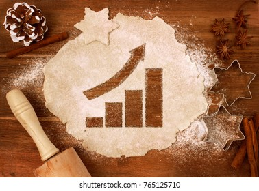 Festive cookie dough with the shape of a growing bar chart cut out (series)