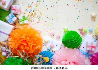 Festive decor for a birthday, party or a new year. Bright decorations of all colors of the rainbow.