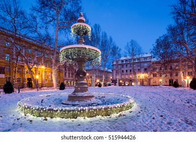 festive decorated park in Zagreb. Croatia.