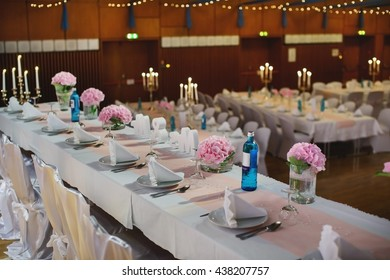 festive decorated table on the wedding in a restaurant