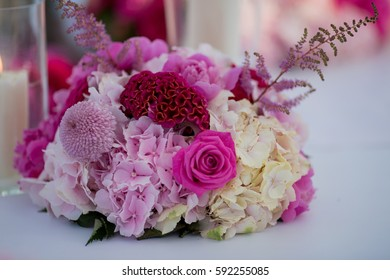 Festive decoration of roses and candles