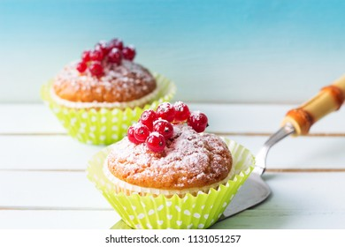 A festive dessert with red berries and powdered sugar. Close-up. Copy space. Cake with berries.