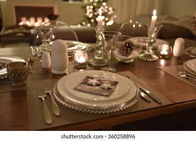 Festive dinner table setting & Dinner Table Setting Images Stock Photos \u0026 Vectors   Shutterstock