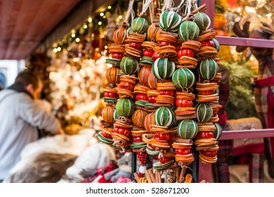 Festive Dried Fruit Hangings at a Booth at a London Christmas Market in England