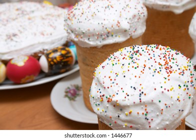 Festive easter cakes and eggs