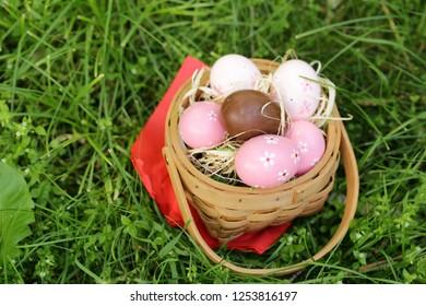 festive easter eggs on green grass