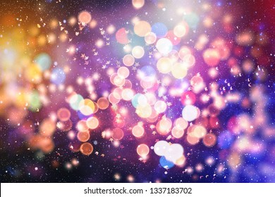 Festive elegant abstract background with bokeh lights and stars Texture