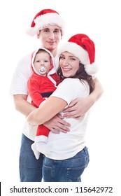 festive family waiting for christmas. studio shot over white background
