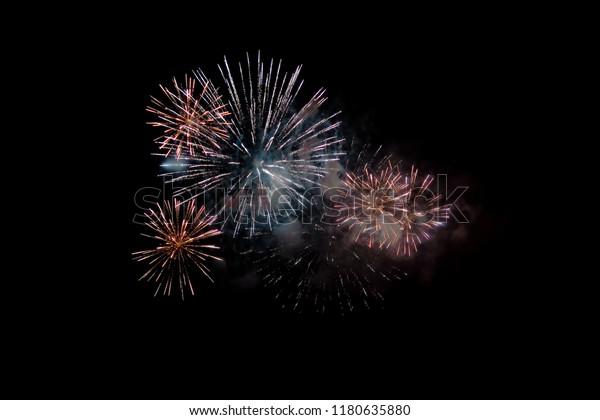 festive firework, fireworks in the night sky