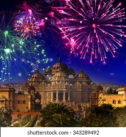 Festive firework over temple Akshardham, India. Delhi.