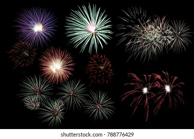 Festive fireworks colorful display isolated in bursting shapes on black background. Beautiful light for celebration. Show explosion happy new year wallpaper.