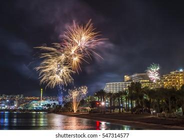 Festive fireworks in Eilat - number one tourism resort in Israel