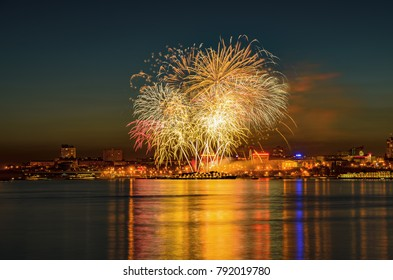 Festive fireworks in the hero-city of Volgograd on the occasion of the anniversary of the victory of the Soviet people in the Great Patriotic War over the German-fascist invaders. Russia