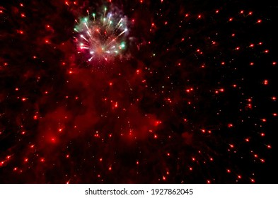 festive fireworks in the night black sky abstract background pattern
