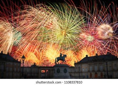 festive fireworks at night in Copenhagen. Denmark.