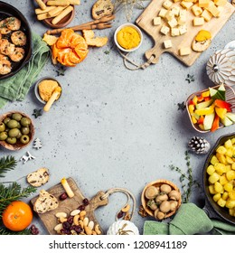 Festive flat lay with christmas dinner party table, holiday vegeterian food concept background, top view with copy space.